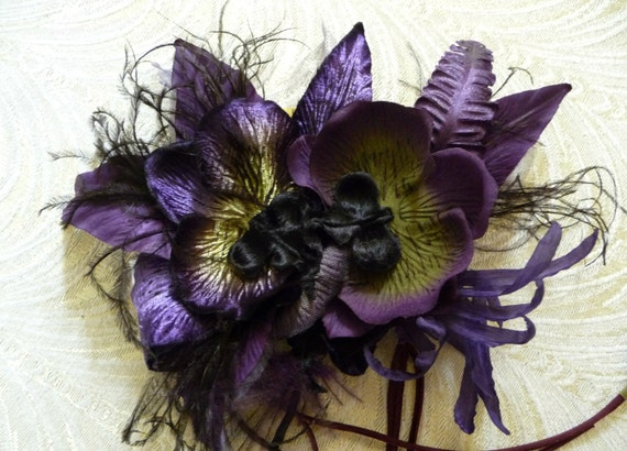 Clearance Sale Large Silk And Velvet Orchids Millinery