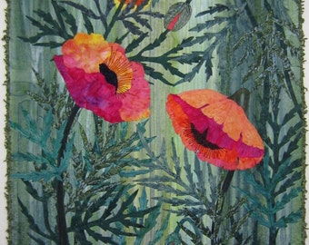 GOOD DAY POPPIES Art Quilt, Fiber Art, Fabric, Wall Hanging, Poppies, Flowers, Red, Green, Buds, Textile Art, Textile