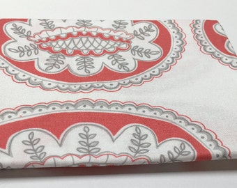 Coral, Grey and White Cotton Fat Quarter