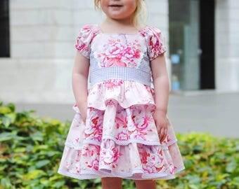 New! Buttercream Icing Triple Ruffle Girls Princess Dress & Rose Headband PDF Sewing Pattern