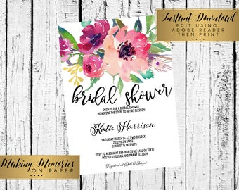 Floral Bridal Shower Invitation, Baby Shower, INSTANT DOWNLOAD Watercolor Flowers, Floral Invitation, birthday, DIY, Flower Invite, boho