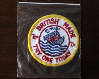 Splash Patches British Made Try One Today with Union Jack Flag from Splash Posters Ltd Regal Way Faringdon Oxon Vintage NOS
