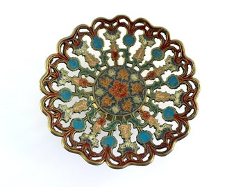 Brass and Enamel Footed Bowl