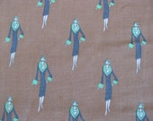 Flapper girl fabric, 2 yards of vintage French brown cotton fabric, art deco style