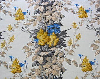 French flower fabric by Romanex de Boussac blue and yellow floral print