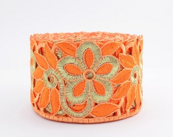 Gold Trim, Lace Trim, Embroidered Lace, Embroidery Lace Trim, Border, Indian Style, Filigree, Orange, Gold- 1 meter