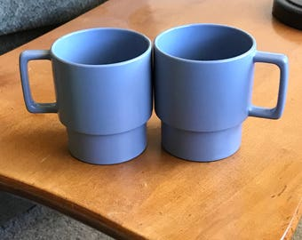 Pair of 2 Vintage Melamine Stackable Light Blue Mugs 8 ozs