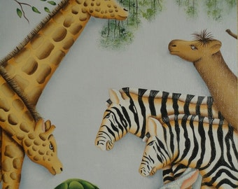 Animal Art Oil Painting Serigraph with Giraffes Zebras Tortoises Camel and Rabbits ~ Signed Childrens Room Art