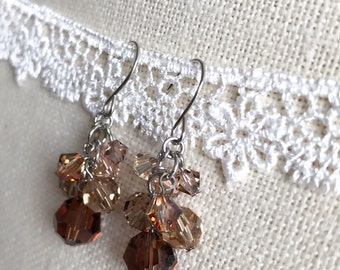 Earrings Brown Cluster Drop Swarovski Crystals ER20177