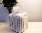 Navy Crochet Tissue Box Cover