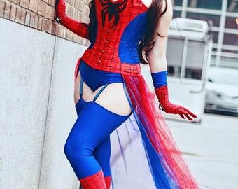 Pinup Spider-Man Costume Cosplay Corset Halloween Event