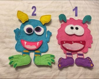 """Felt Monster Dolls - """"Paper Dolls with Velcro"""" - Choose Your Own Color"""