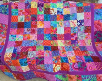 handmade patchwork cot quilt, baby blanket, lap quilt