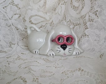 Shabby Chic Dog Bank with Glasses