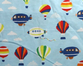 Hot Air Balloons and Blimps on Blue Snuggle Flannel Fabric - One Yard - Flannel Fabric by the Yard