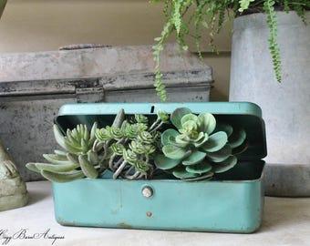 Vintage Metal Tool Box Teal Green Blue Farmhouse Decor Industrial Salvage Fixer Upper Decor