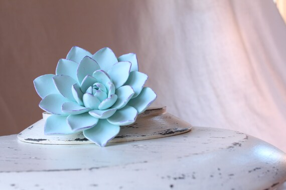 Succulent Hair clip. Hair clip polymer clay flower for wedding. Mint color.