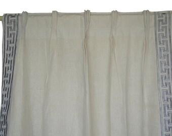 Linen Pinch Pleat Curtain Greek Key Gray Embroidery, Ivory Greece Curtain, Window Curtain Window Treatment, Triple Pleated Door Curtains