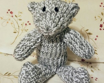 COMFY COZY Knitted Teddy Bear in Grey and White