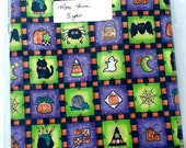 Cute Purple and Green Halloween Fabric with Pumpkins, Candy Corn, Black Cats, Spiders, and Bats. More Than 3