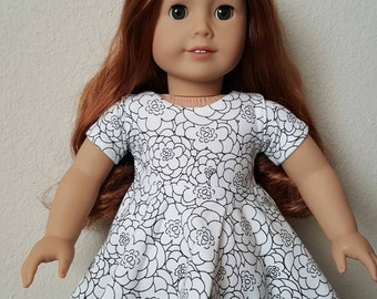 Black and White floral Skater dress for 18 inch dolls by The Glam Doll