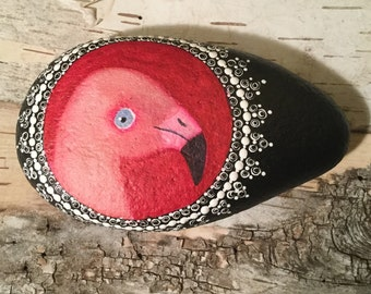 Pink Flamingo Painting, Painted Stone, Painted Rock, Unique Gift, Nature Art, Gift for Dad, Birder Gift, Paperweight, Desk Ornament