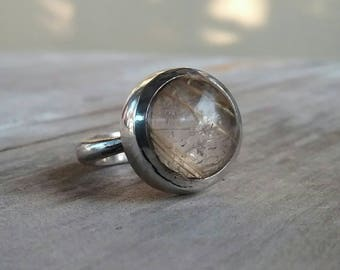 Golden rutilated quartz pinkie ring boho new age sterling silver