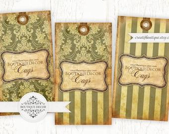 Vintage Classic Olive Tags. Digital collage sheet. Set of 3. Printable download.