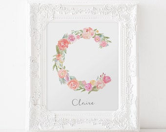 Floral Monogram Alphabet Letter customized with child's name