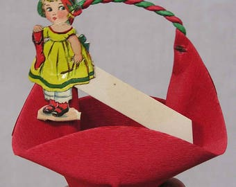 Vintage Christmas Crepe Paper Nut Cup Party Favor Diecut Girl Tag Reed Company