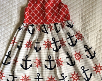 Girls nautical anchor halter sundress 6