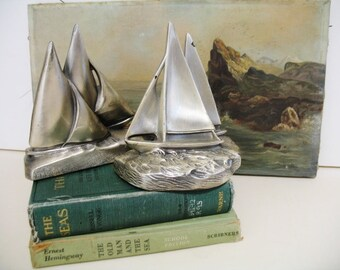 Vintage 50-60s Nautical Silvertone Metal Sailboat Bookends