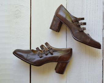 Saddle Up Shoes / 1990s leather mary janes / vintage brown buckle heels