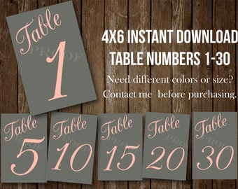 4x6 Table numbers PRINTABLE INSTANT DOWNLOAD Set of 30 peach pink dark gray wedding event  seating assignment escort cards blush light pink