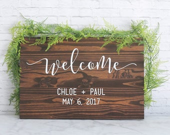 Welcome Wedding Sign, Wedding Sign, Name and Date Sign, Wedding Gift, Wedding Signage, Personalized Wedding Gift