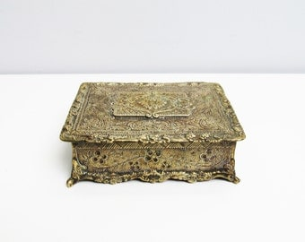 Antique brass box, jewelry box cigar box, brass case, trinket box victorian box, ornate decoration, wood lined, footed box, hinged box