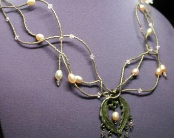 Bronze, Pearls, Crystal and Bead Choker