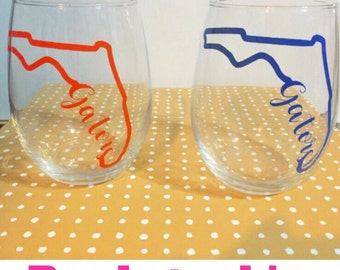 Florida gator noles stemless wine glass listing is for one glass college football listing is one glass