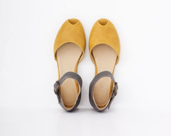 Peep toe Leather Sandals , Handmade Leather Women's Flat Sandals , Yellow and Gray Sandals ADIKILAV On Sale 15% off
