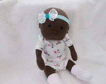 "16"" Baby Girl Cloth handmade Doll Waldorf Inspired Bald headband soft sculpted plush Toddler stuffed Sculpture Easter Christmas Newborn toy"