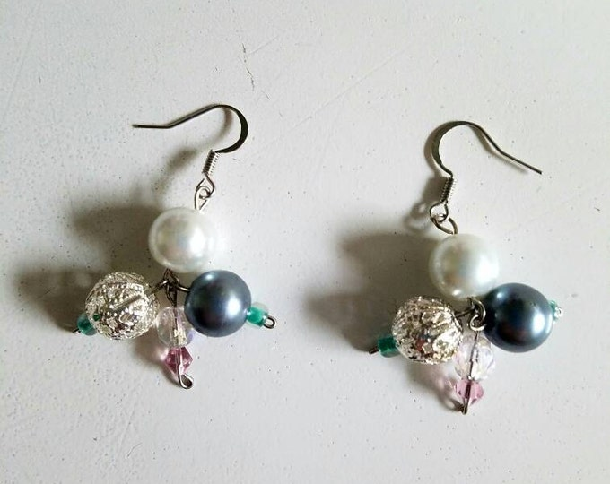 Cluster Beaded Ocean Earrings