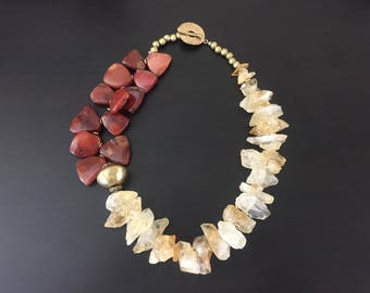 Afrocentric - Rugged Citrine & Nigerian Carnelian Necklace