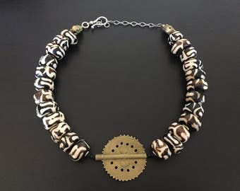 Kenyan Batik Cow Bone and Boule Tribe Brass Necklace