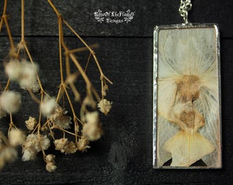 White orchid jewelry. Pressed flower necklace. Soldered glass pendant. Nature inspired. Real flower jewelry