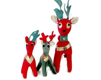 Vintage Reindeer, 1960's Dakin Dream Pets, Velvet Reindeer, Stuffed Reindeer, Reindeer Figurines, Christmas Decor, Decorations, Mid Century