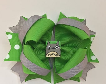 Hand Painted My Neighbor Totoro Boutique Hair Bow