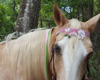 Pink Flowers Seed Beaded Browband for Horse or Pony - Equine Tack Jewelry