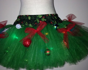 Adult Christmas Tree Decorated TuTu with Lights ugly sweater party tutu