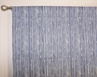 "Stripe CURTAINS -  Indigo Blue - Navy Curtains - Premier Prints - Pair Drapery Panels - 24"" / 50"" Wide - Rod Pocket -"
