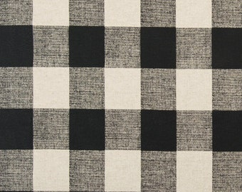 """Black and Linen CHECK CURTAINS,  Black Check Curtains,Large Check Curtains, Buffalo Check, Two Panels,24"""" Wide,52"""" Wide,Valance"""